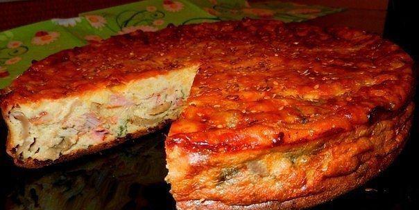 Пирог с овощами и копчёной курицей